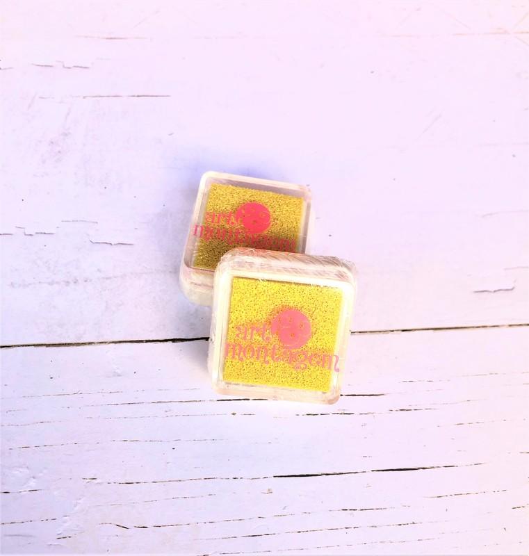 Almofada carimbeira Perolada Amarelo INK004-1 - Art e Montagem