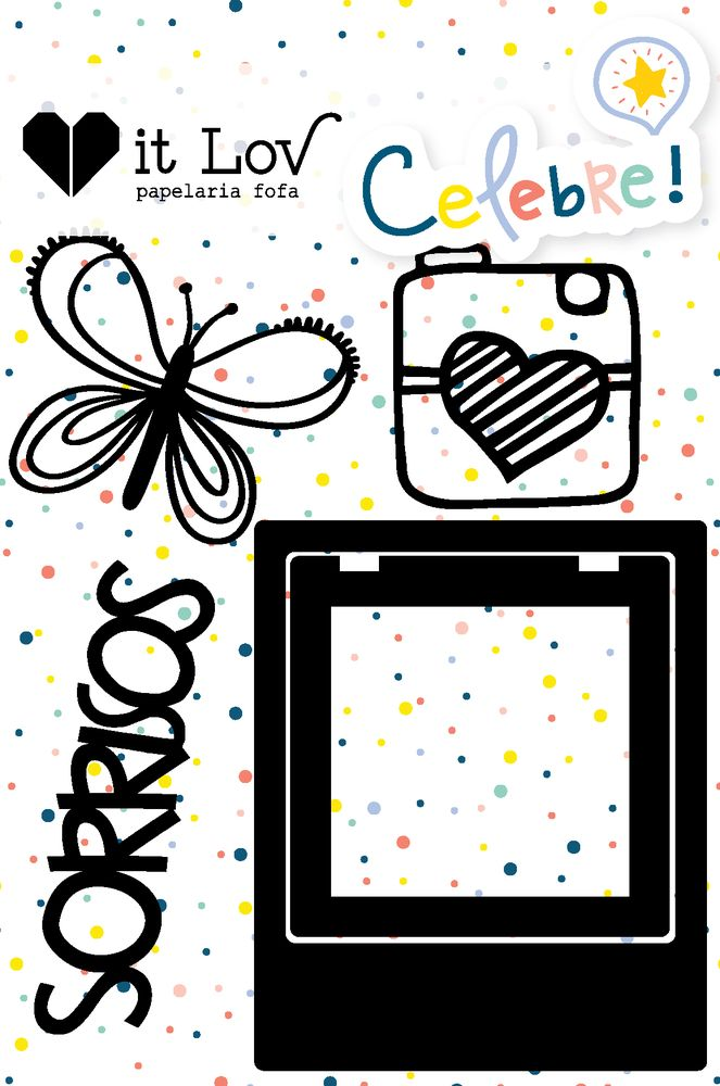 Aplique Scrapbook de Chipboard Celebre Sorrisos - It Lov