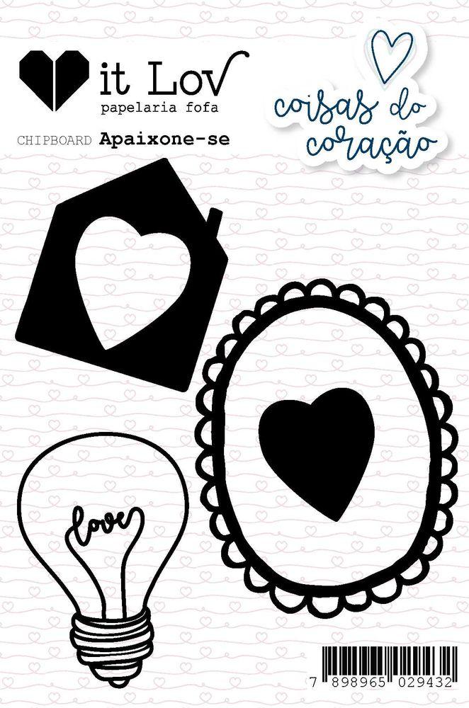 Aplique Scrapbook de Chipboard Coisas do Coração Apaixona-se - It Lov