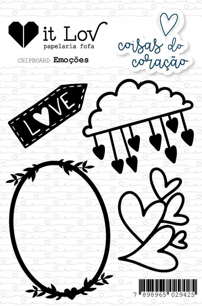 Aplique Scrapbook de Chipboard Coisas do Coração Emoções - It Lov
