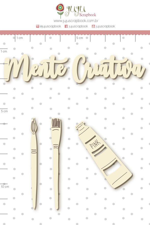 Aplique Scrapbook de Chipboard Quarentena Criativa Mente Criativa - Juju Scrapbook