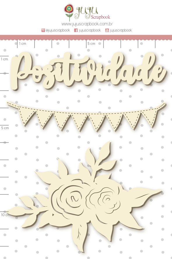 Aplique Scrapbook de Chipboard Quarentena Criativa Positividade - Juju Scrapbook