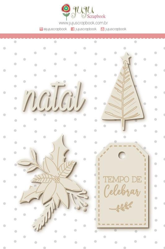 Aplique Scrapbook de Chipboard Tempo de Celebrar Natal - Juju Scrapbook