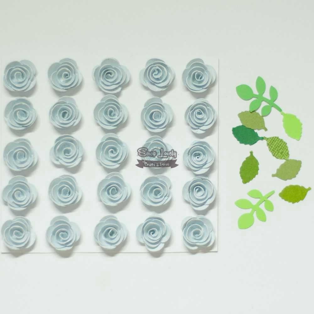 Aplique Scrapbook de Flores Azul Bebê - Tata Arts