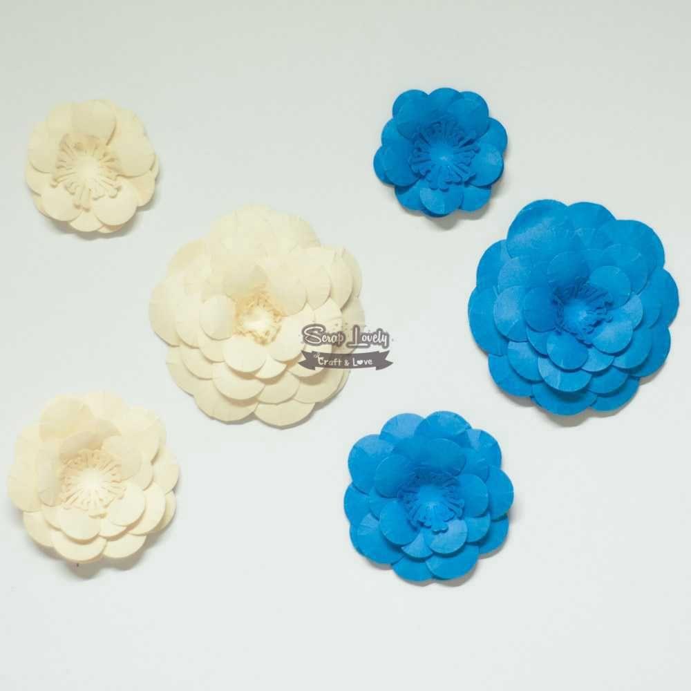 Aplique Scrapbook de Flores Azul e Bege - Scrap Lovely