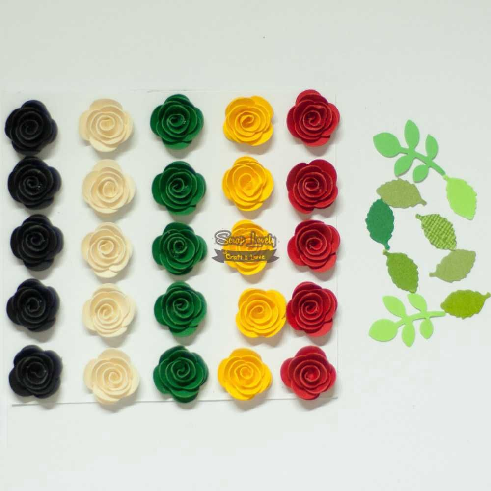 Aplique Scrapbook de Flores Sortidas 01 - Tata Arts