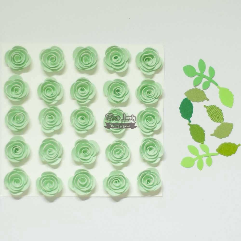 Aplique Scrapbook de Flores Verde Bebê - Tata Arts