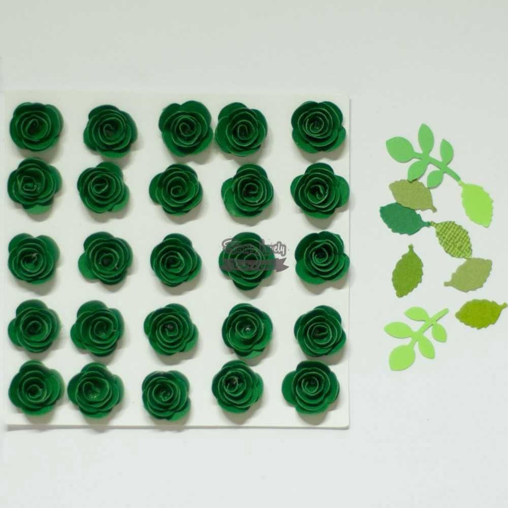 Aplique Scrapbook de Flores Verde - Tata Arts