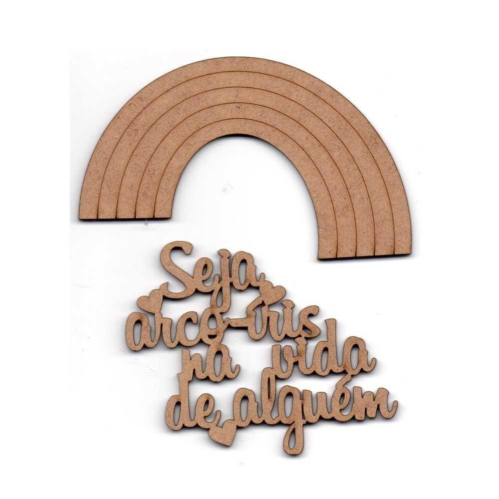 Aplique Scrapbook de Madeira Arco Íris - Zezinho Artes