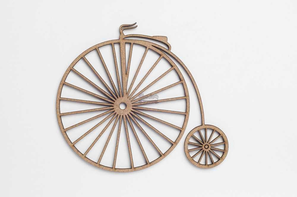 Aplique Scrapbook de Madeira Bicicleta Antiga - Arte Madeira Joinville