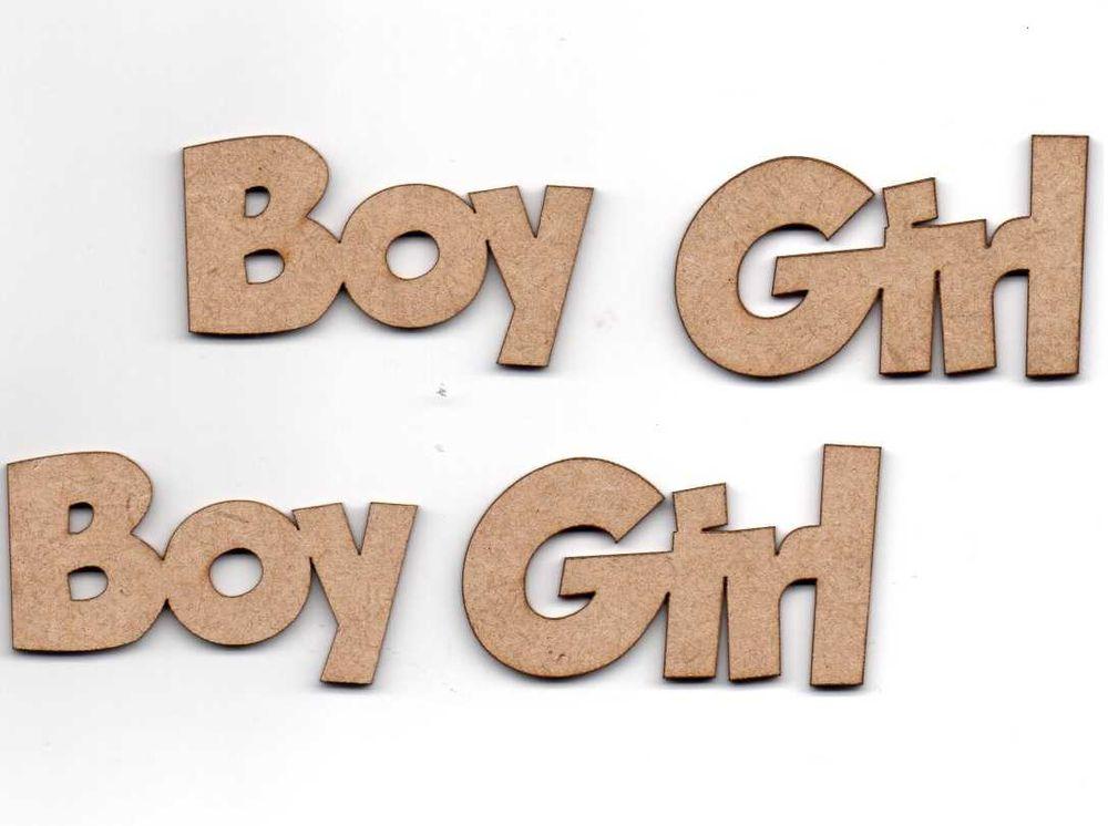 Aplique Scrapbook de Madeira Boy e Girl - Zezinho Artes