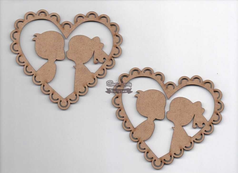 Aplique Scrapbook de Madeira Casal Coração LR-679 - Arte Fácil