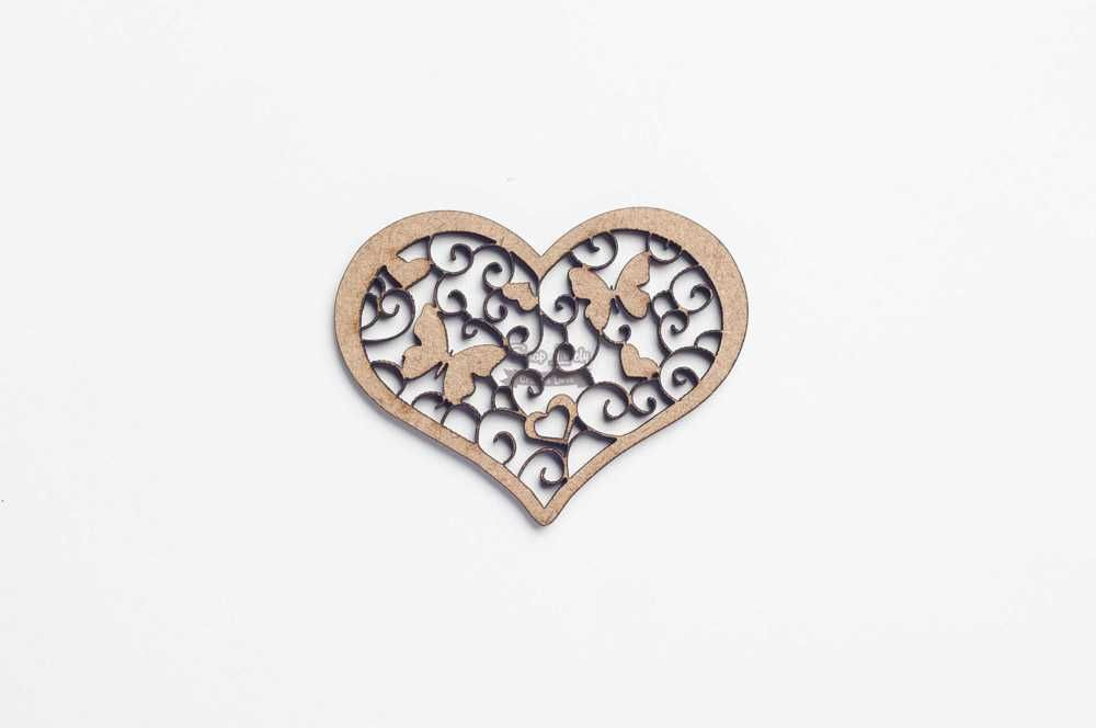 Aplique Scrapbook de Madeira Coração com Borboletas - Arte Madeira Joinville