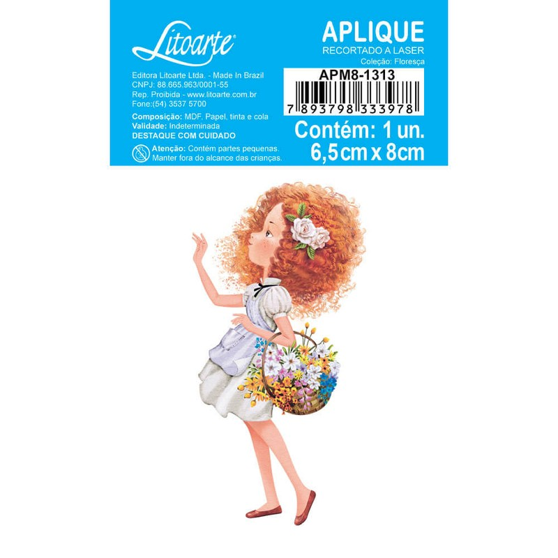 Aplique Scrapbook de Madeira Floresça-AMP8-1313 - Litoarte