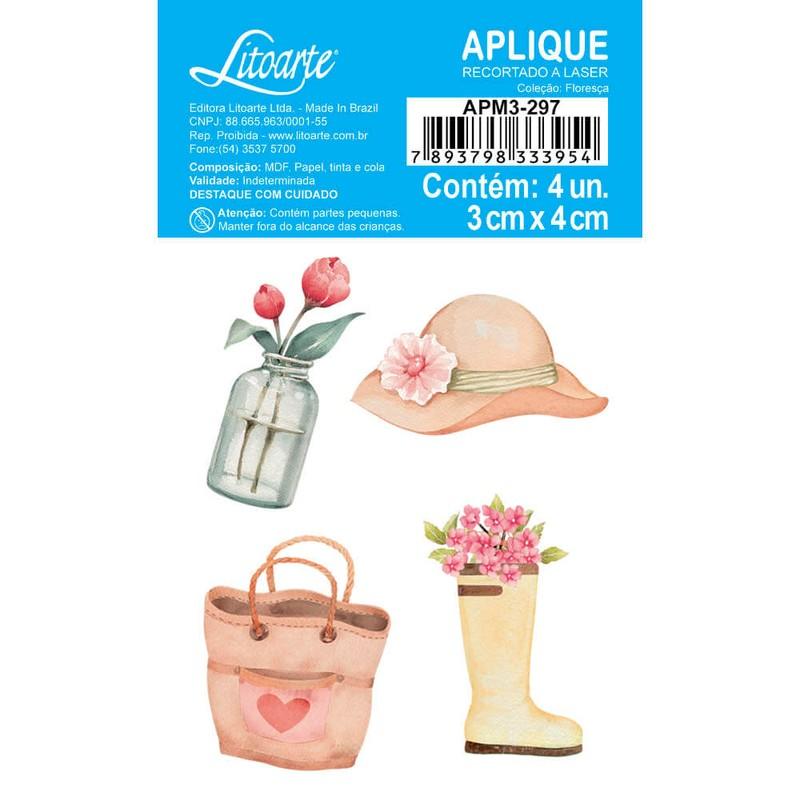Aplique Scrapbook de Madeira Floresça-APM3-297 - Litoarte