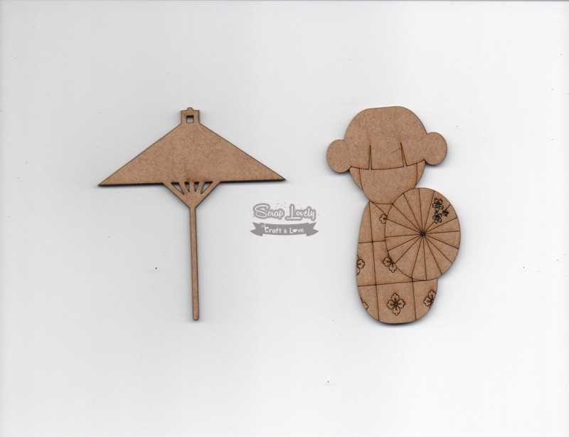Aplique Scrapbook de Madeira Kokeshi 1 LR-697 - Arte Fácil