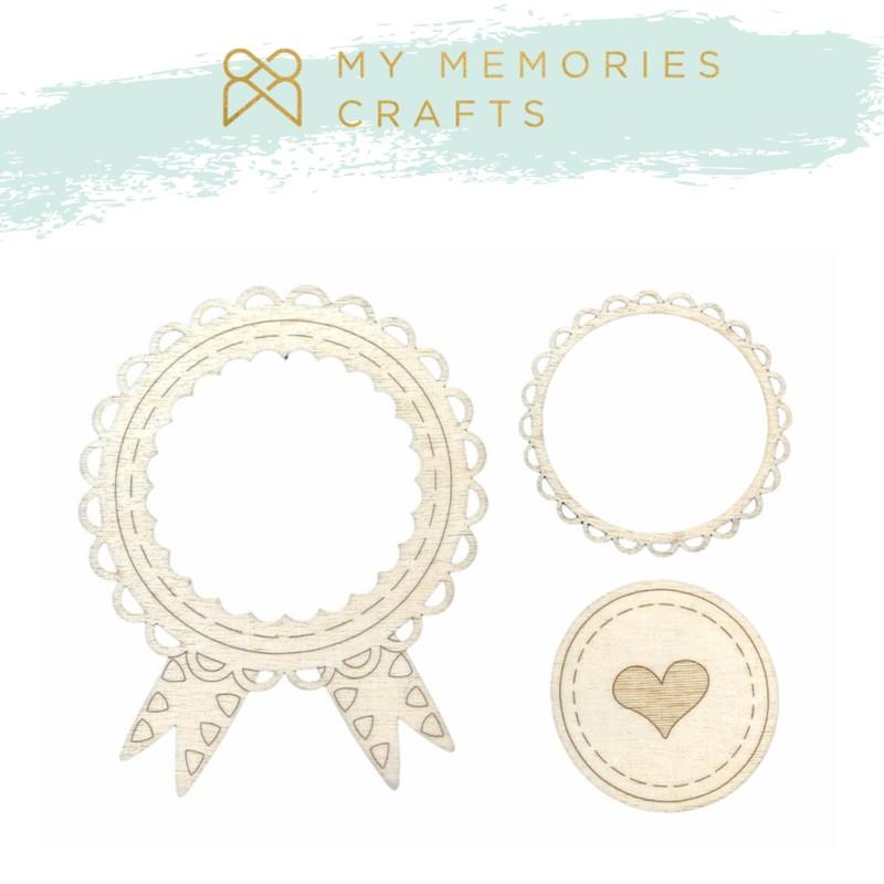 Aplique Scrapbook de Madeira Moldura Coração MMCMW-11 - My Memories Crafts