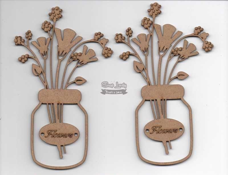 Aplique Scrapbook de Madeira Pote com Flor 1 LR-735 - Arte Fácil