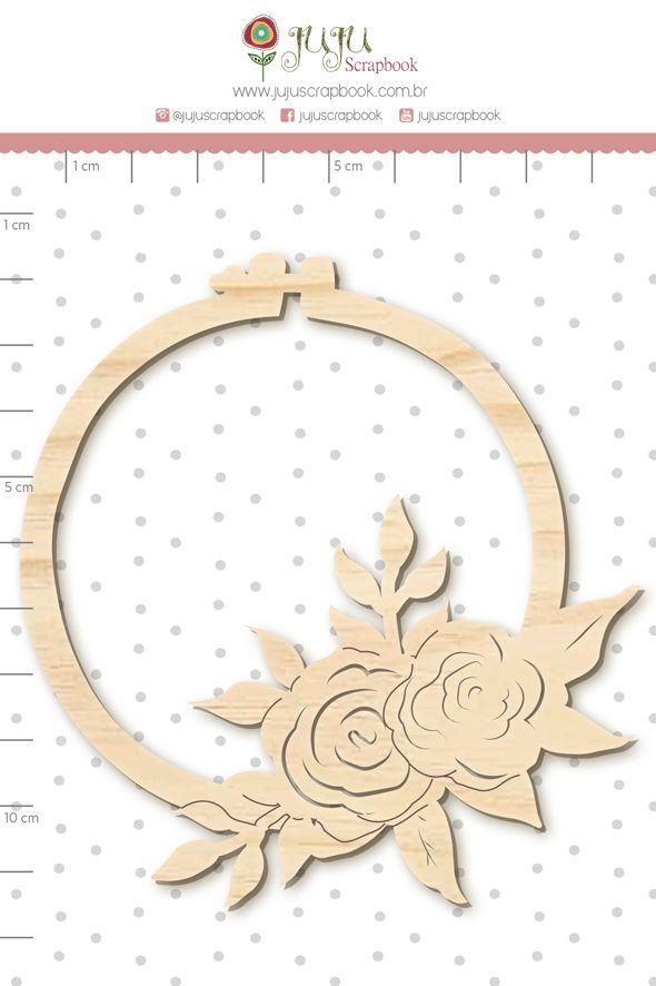 Aplique Scrapbook de Madeira Quarentena Criativa Bastidor Floral - Juju Scrapbook