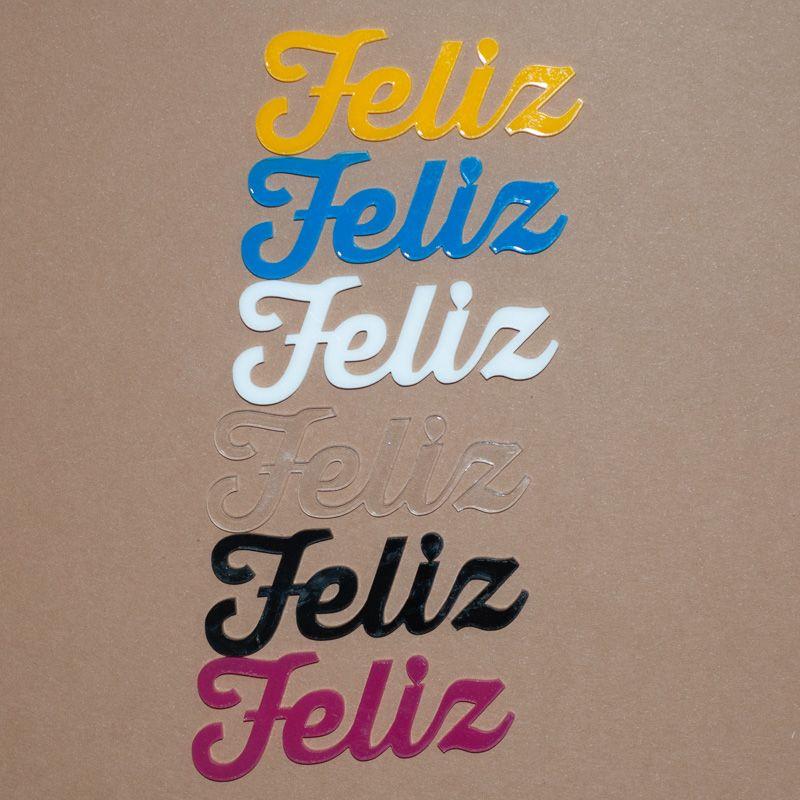 Aplique Scrapbook de Palavra em Acrílico Feliz - Scrap Lovely