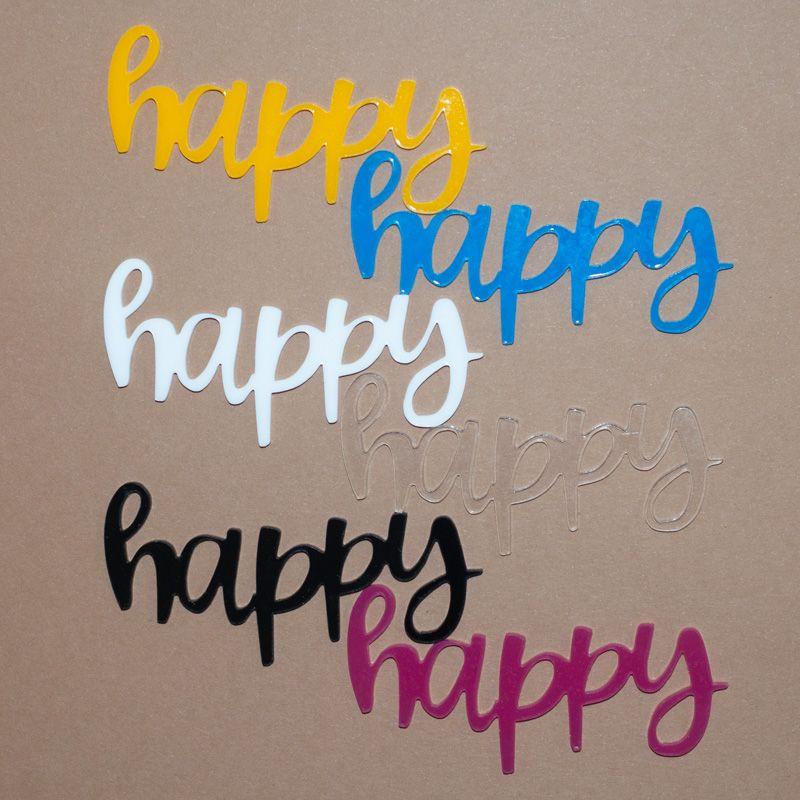 Aplique Scrapbook de Palavra em Acrílico Happy - Scrap Lovely