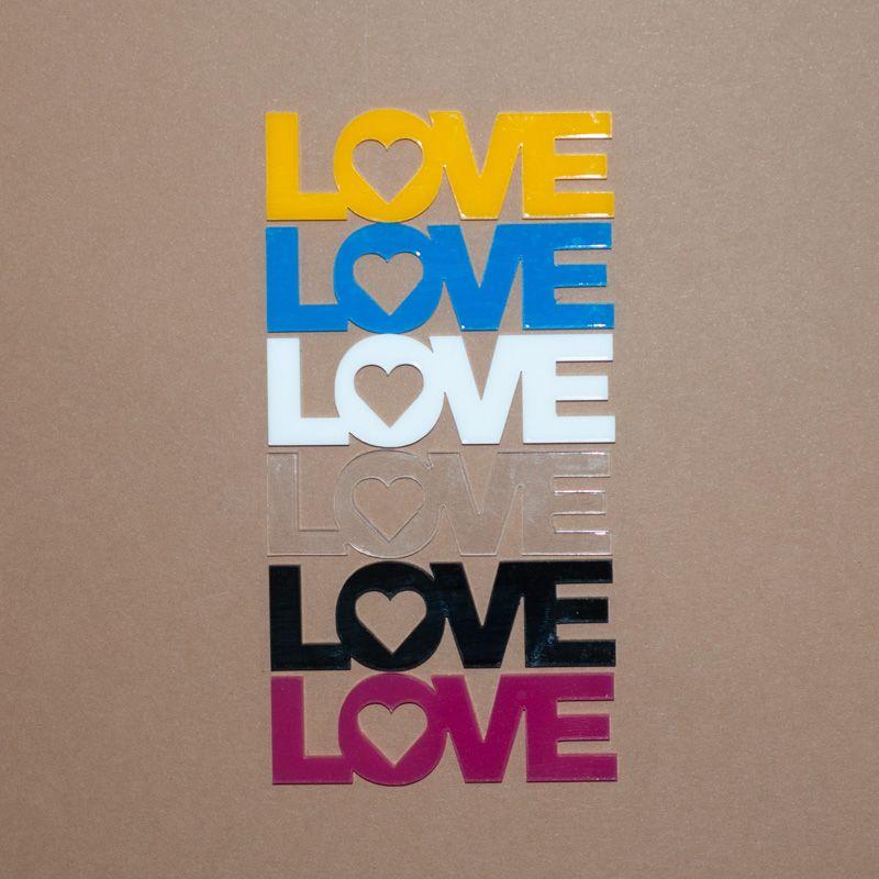 Aplique Scrapbook de Palavra em Acrílico Love na Horizontal - Scrap Lovely
