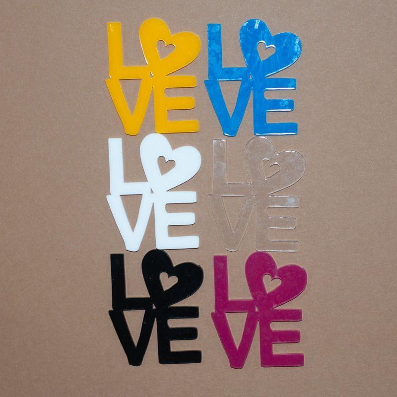Aplique Scrapbook de Palavra em Acrílico Love na Vertical - Scrap Lovely