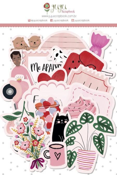 Aplique Scrapbook de Papel Espalhando Amor Recortes Quero Cafuné - Juju Scrapbook