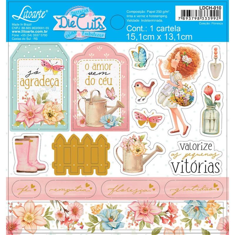 Aplique Scrapbook de Papel Floresça LDCH-010 - Litoarte