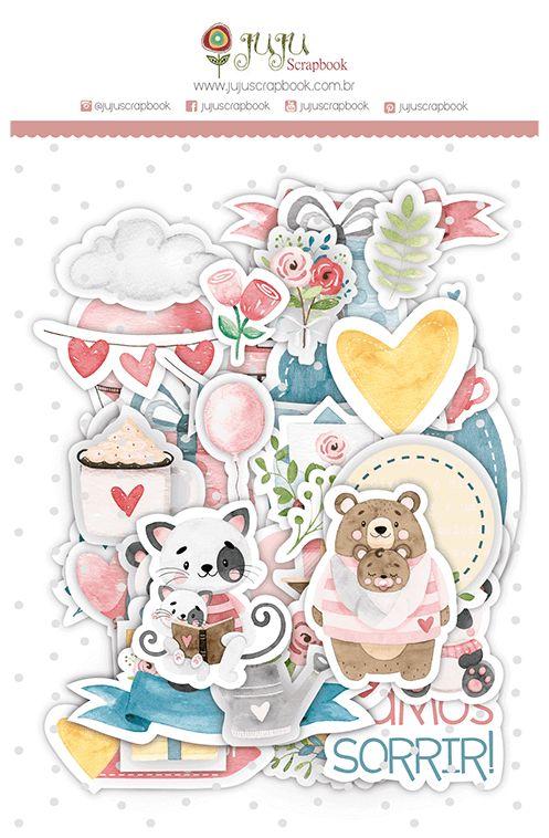 Aplique Scrapbook de Papel Recortes Abraço de Urso - JuJu Scrapbook
