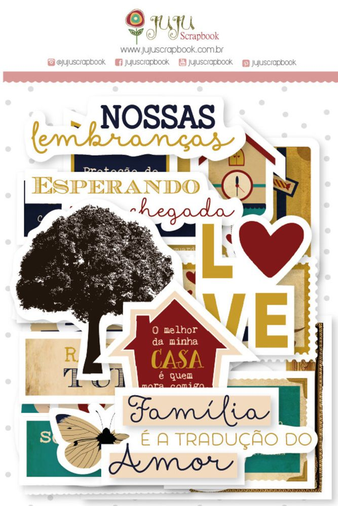 Aplique Scrapbook de Papel Recortes Família para Sempre - Juju Scrapbook