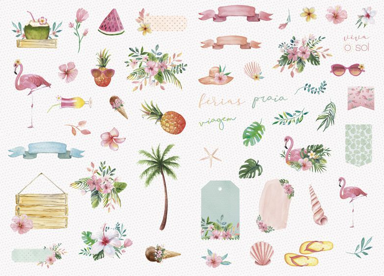 Aplique Scrapbook de Papel Recortes Paraíso Tropical - JuJu Scrapbook