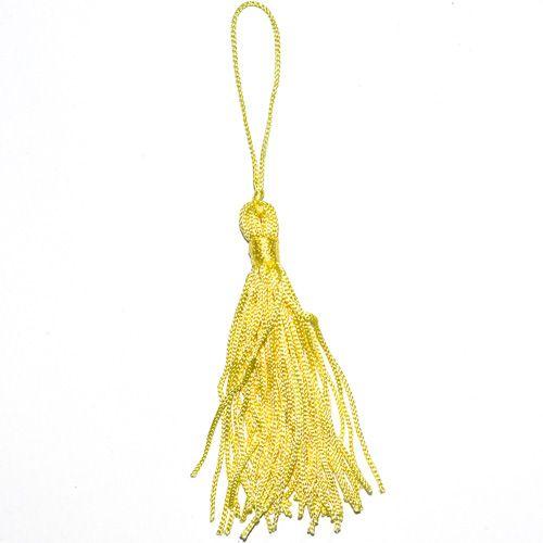 Aplique Scrapbook de Tecido Pingente Tassel Amarelo - Scrap Lovely