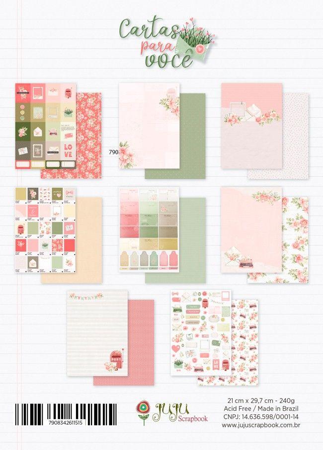 Bloco de Papéis Scrapbook A4 Cartas para Você - Juju Scrapbook