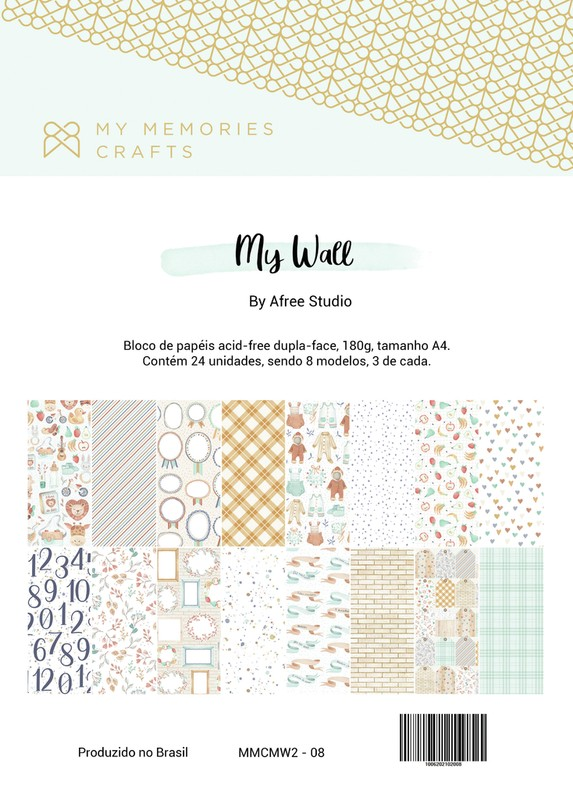 Bloco de Papéis Scrapbook A4 My Wall - My Memories Crafts