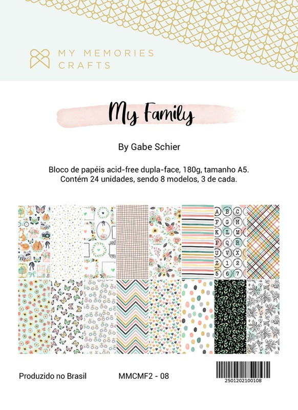 Bloco de Papéis Scrapbook A5 My Family MMCMF2-08 - My Memories Crafts