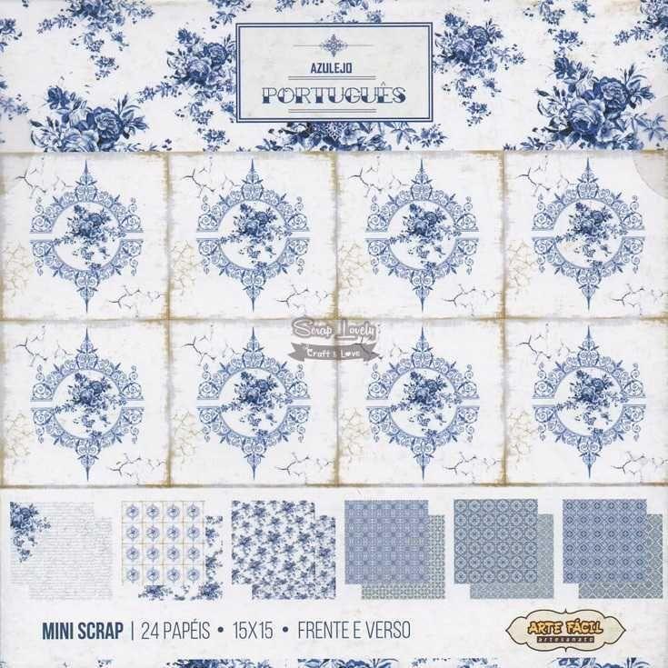 Bloco de Papéis Scrapbook Azulejo Português MS-006 - Arte Fácil