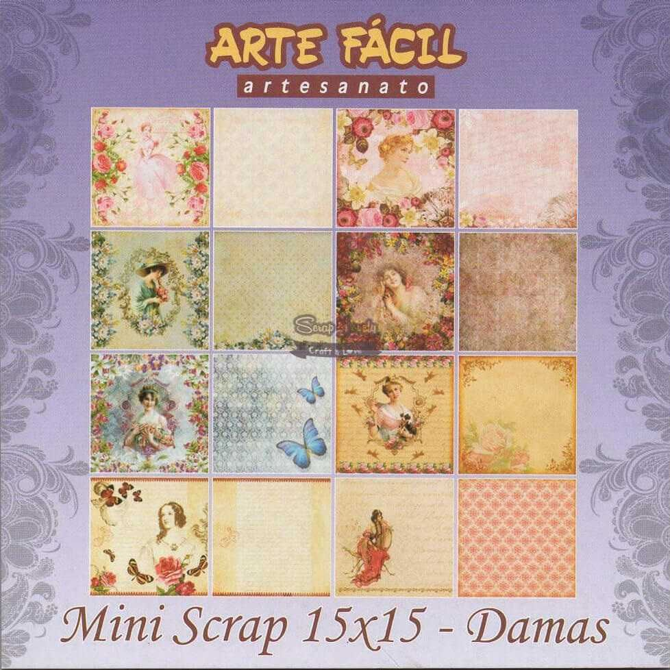 Bloco de Papéis Scrapbook Damas MS-002 - Arte Fácil