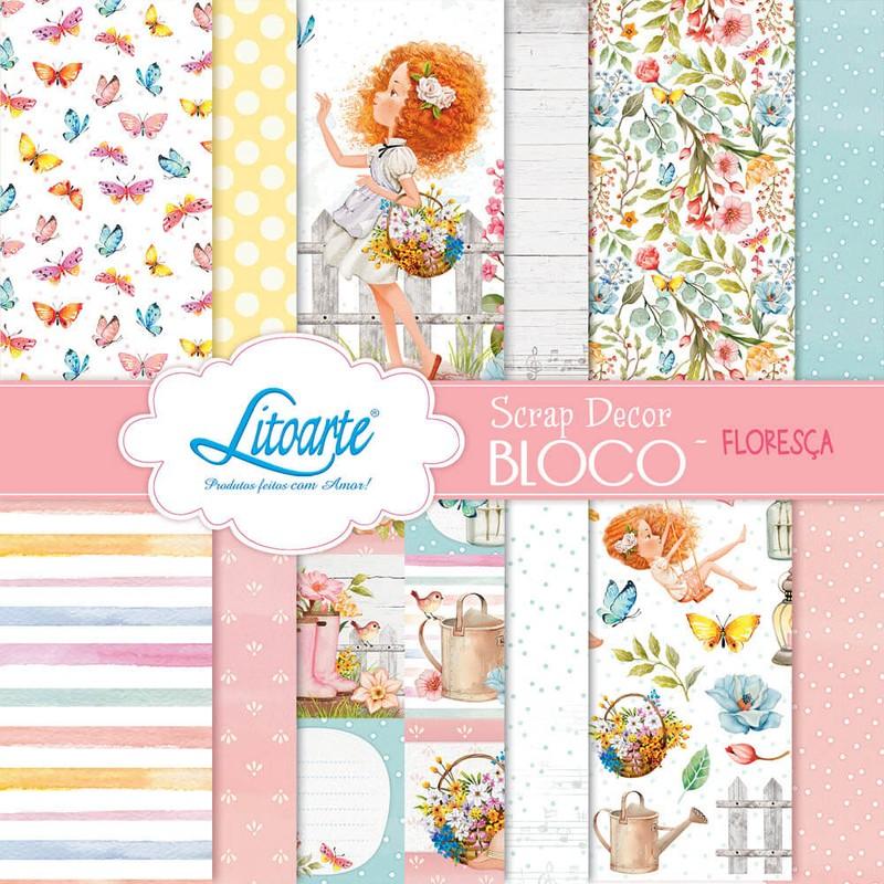 Bloco de Papéis Scrapbook SBXV-037 Floresça Litoarte