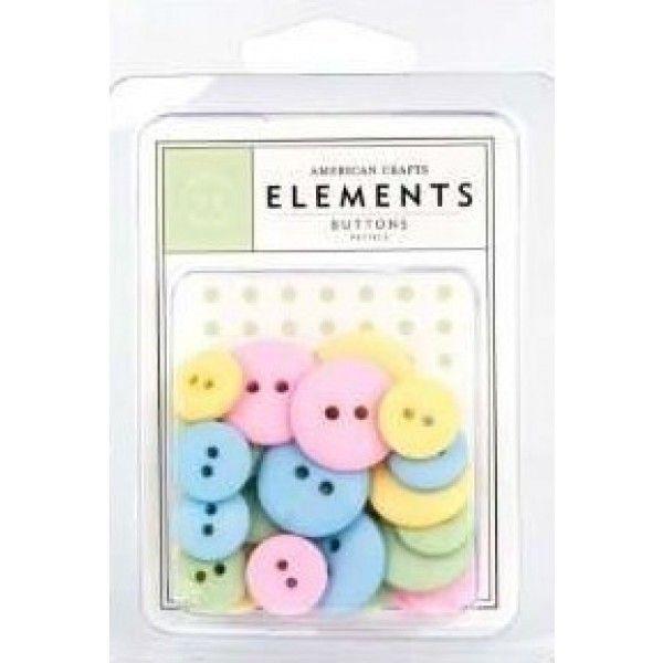 Botões Redondos Tons Pasteis - American Crafts