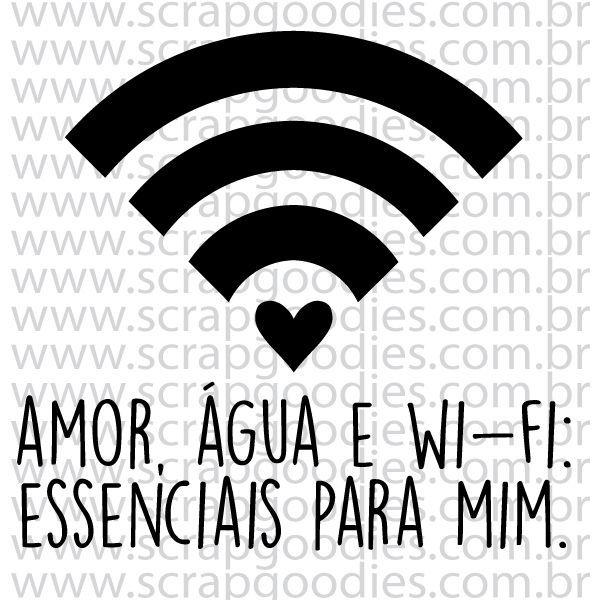 Carimbo de Silicone Amor, Água e Wifi - Scrap Goodies