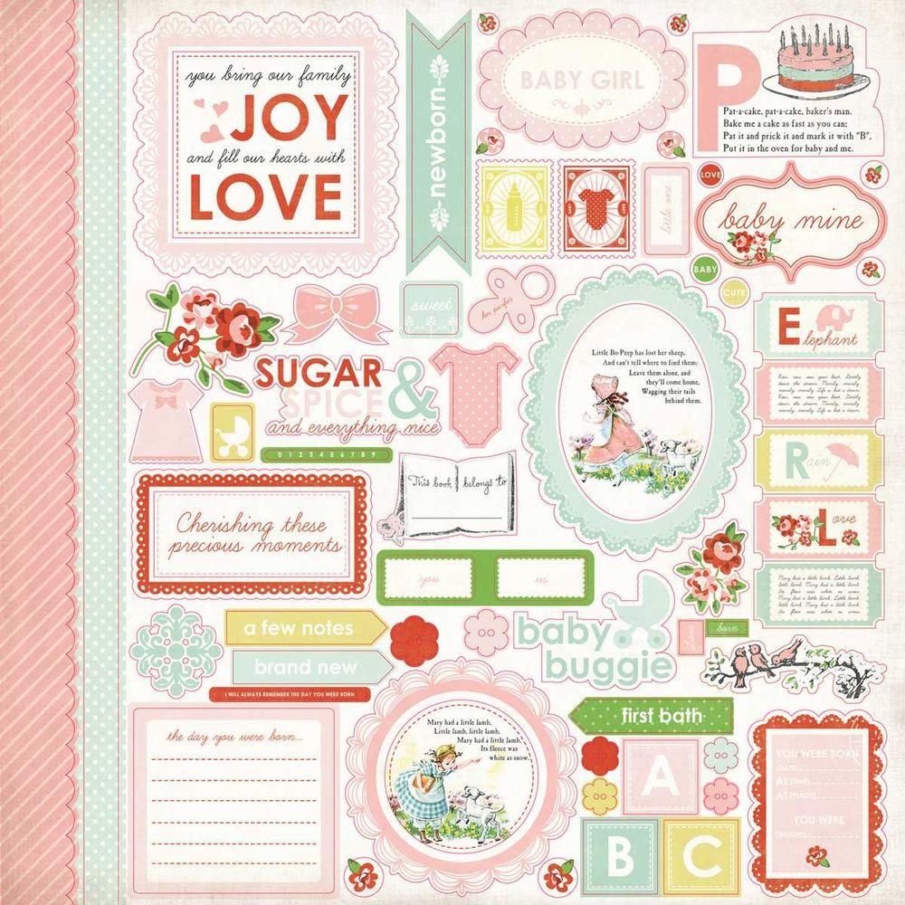 Cartela de Adesivos Baby Mine Girl - Carta Bella