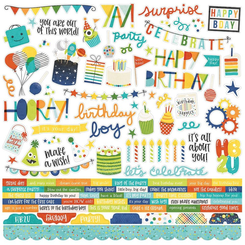 Cartela de Adesivos Birthday Blast - Simple Stories