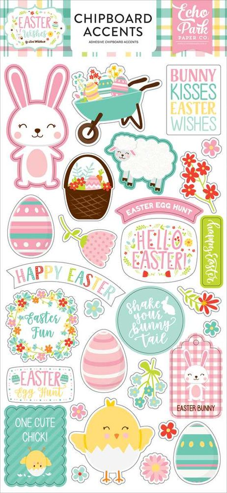 Cartela de Adesivos Chipboard Easter Wishes Elementos - Echo Park