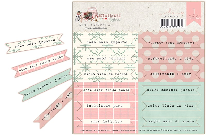 Cartela de Adesivos Chipboard Homemade Christimas Frases - Dany Peres