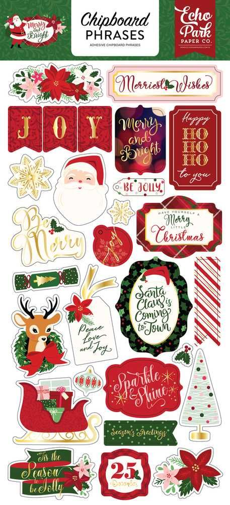 Cartela de Adesivos Chipboard Merry & Bright Frases e Palavras - Echo Park