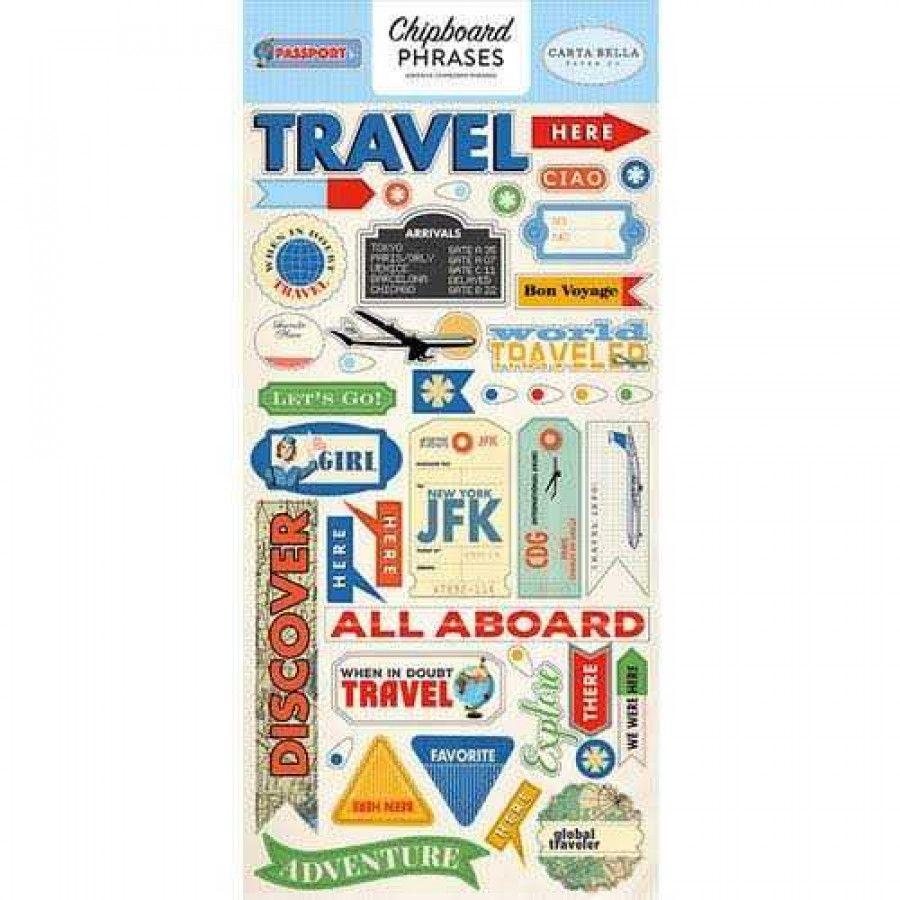 Cartela de Adesivos Chipboard Passport Frases e Palavras - Carta Bella