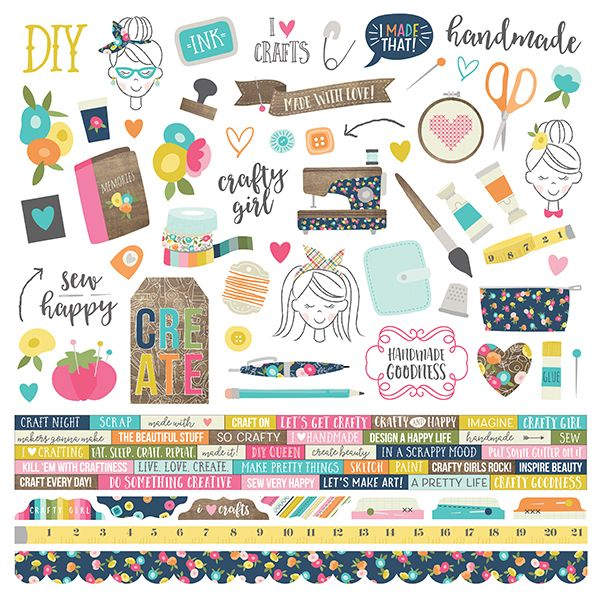 Cartela de Adesivos Crafty Girl - Simple Stories