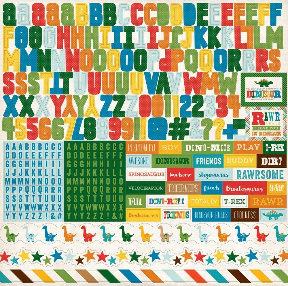 Cartela de Adesivos Dino Friends Alfabeto - Echo Park
