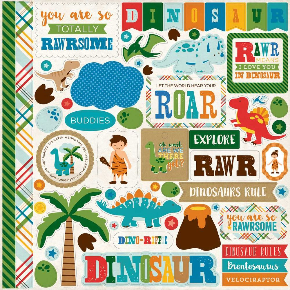 Cartela de Adesivos Dino Friends - Echo Park